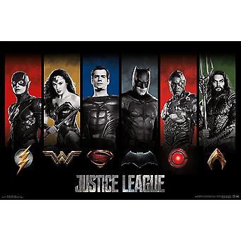 Justice League - logoer plakat Print