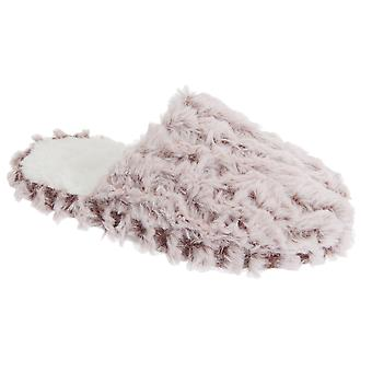 Slumberzzz Womens/Ladies Fluffy Two-Toned Slip-On Slippers