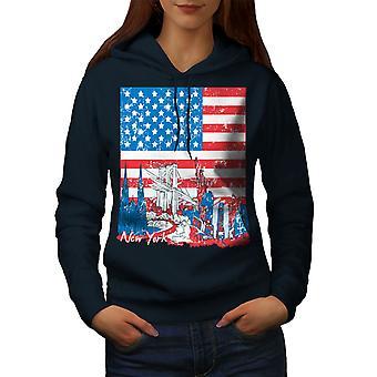Ameryka Nowy Jork USA kobiet NavyHoodie flaga | Wellcoda