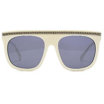 Stella McCartney Falabella Flat Top Sunglasses With Detachable Falabella Neck Chain In White