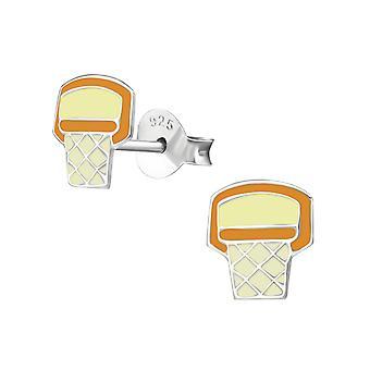 Basketballkorb - 925 Sterling Silber farbige Ohrstecker
