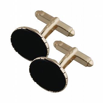 9 ct ゴールド 12x17mm 楕円形スイベル オニキス カフスのセット