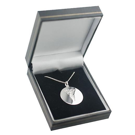 Silver 26mm round hand engraved medical alarm Disc with a curb Chain 18 inches