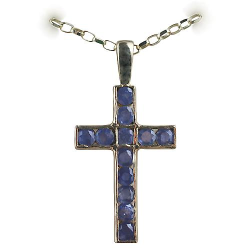 9ct Gold 25x16mm Apostle's Cross set with 12 Sapphires with a belcher Chain 16 inches Only Suitable for Children