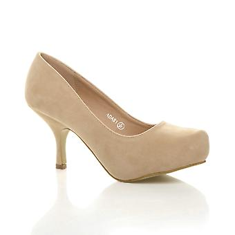 Ajvani womens low mid heel pumps concealed platform work formal court shoes