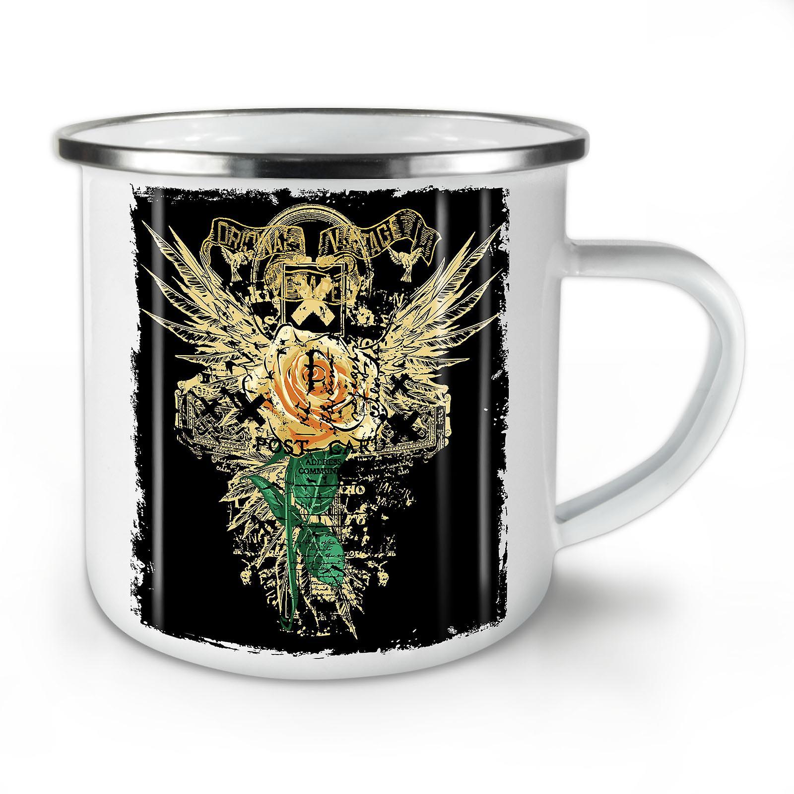 Unique Vintage Fashion Enamel Whitetea Mug10 Coffee OzWellcoda New QCsxrdht