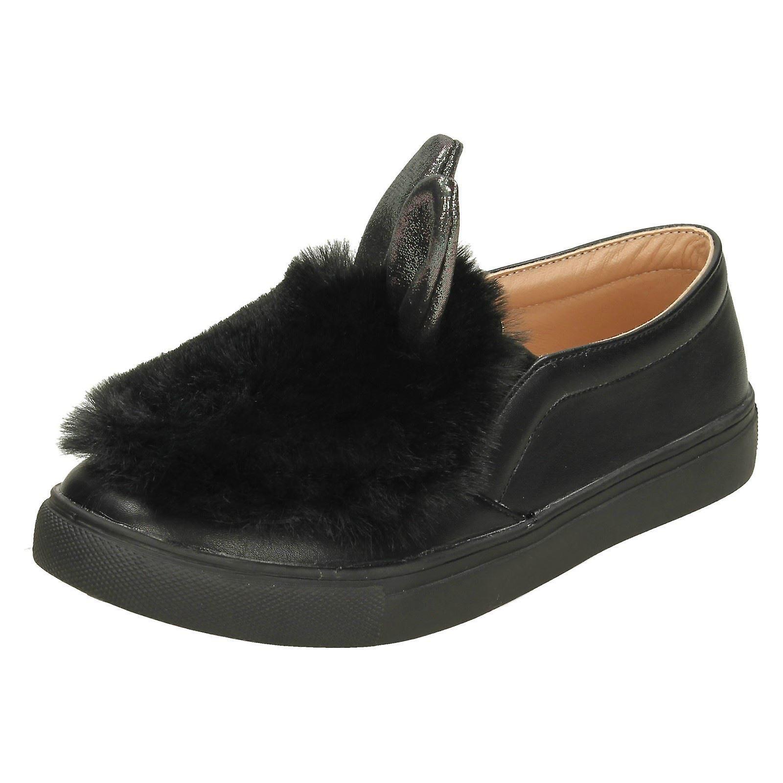 Mädchen-Spot auf Pelz & Glitter Hase Ohr Schuhe H2459