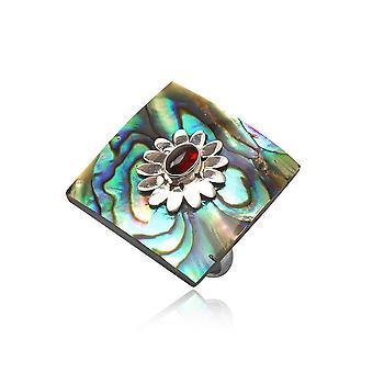 Ring einstellbar quadratische Abalone in Silber 925