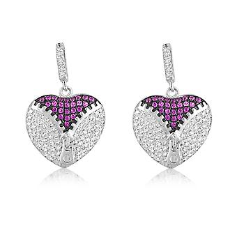Heart Earrings in Silver 925 adorned with 206 Swarovski Crystals Zirconia Whites and Roses