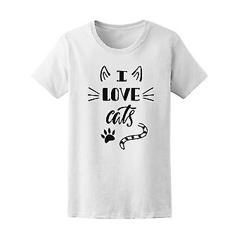 I Love Cats Paw Ears Tail Tee Women's -Image by Shutterstock