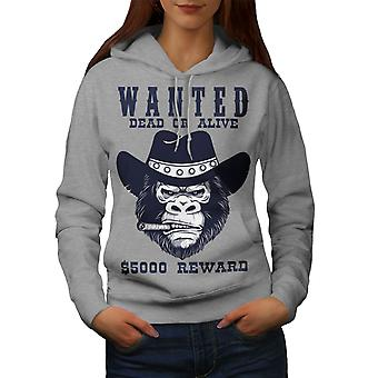Cowboy Bad Monkey Face Women GreyHoodie | Wellcoda