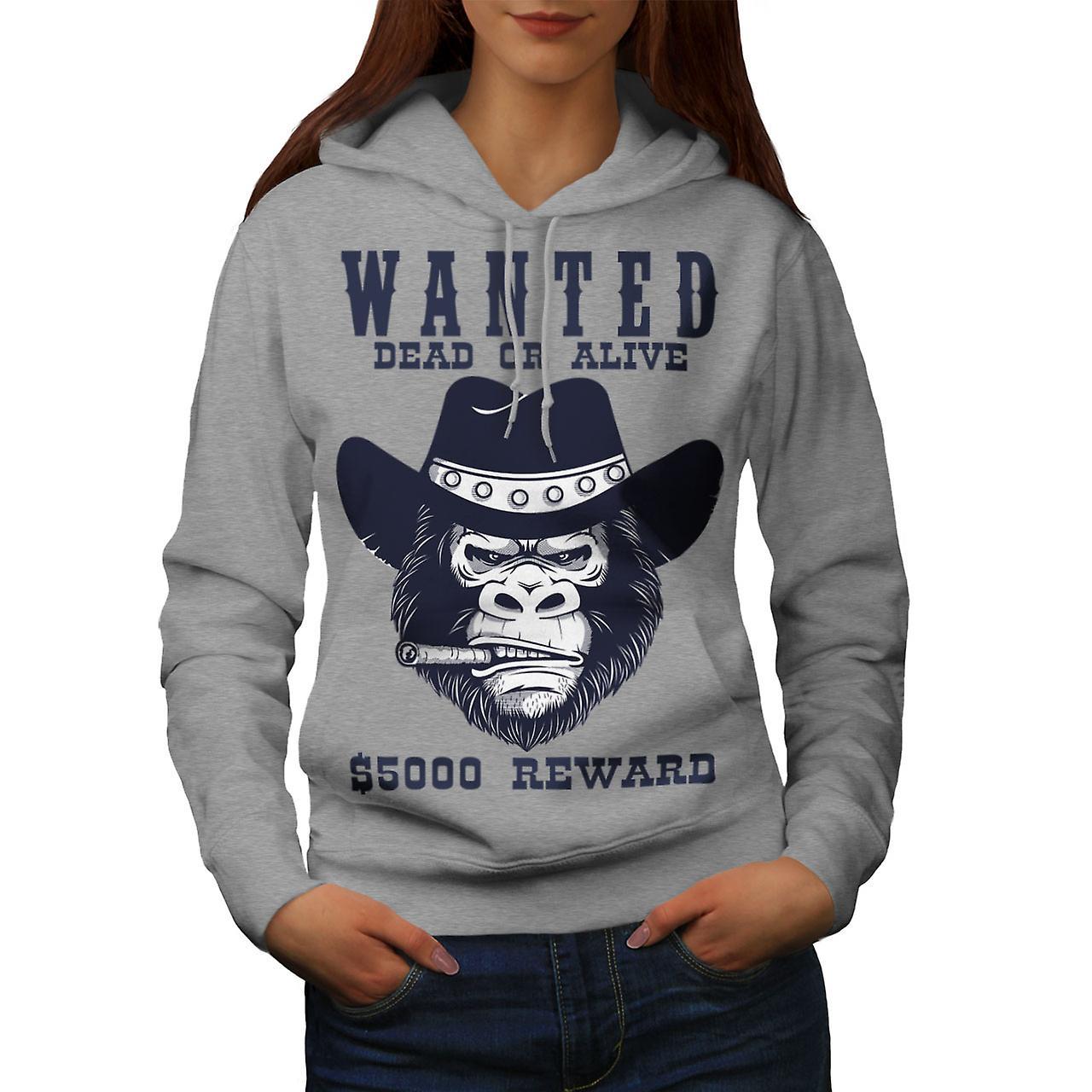 Cowboy Bad Monkey Face Women GreyHoodie | Wellcoda