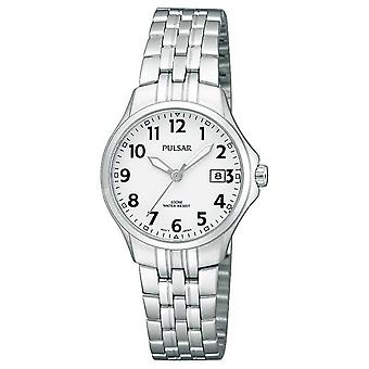 Pulsar Womans Stainless Steel Bracelet Simple White Dial PH7221X1 Watch