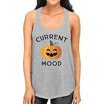 Pumpkin Current Mood Womens Gray Racerback Workout Tank Top Cotton