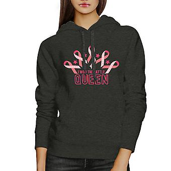 Won The Battle Queen Charcoal Grey Breast Cancer Support Hoodie