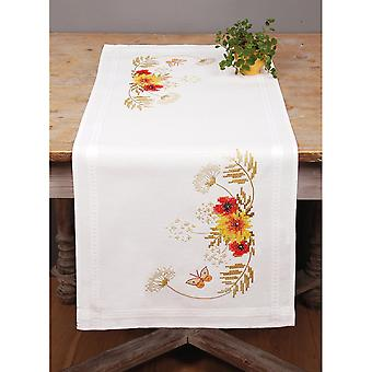 Sunflowers & Poppies Table Runner Counted Cross Stitch Kit-10.5