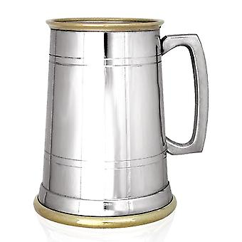 Warwick Straight 2 Line Brass Lip & Bass Pewter Tankard - 1 Pint
