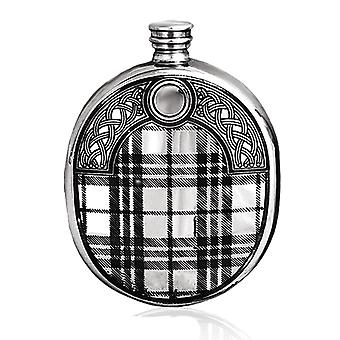 Scottish Tartan Sporran Pattern Wedge Sporran Pewter Flask - 6oz