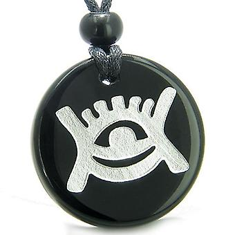 Amulet Universe Energy Supernatural All Seeing Eye Protection Power Onyx Medallion Necklace
