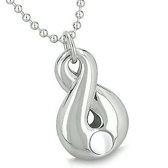 Amulet Infinity magiske symbolet evigheten krefter hvite katter øye åndelige positiv anheng halskjede