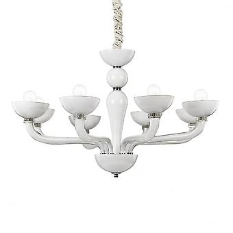 Ideal Lux Casanova 8 Bulb Pendant Light White