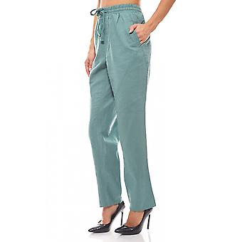 sheego ladies-linen pants summer forest green