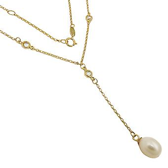 Chain necklace - Pearl - cubic zirconia - 9Kt GOLD - 45 cm - Y necklace-