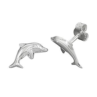 Earstuds leaping dolphin silver 925