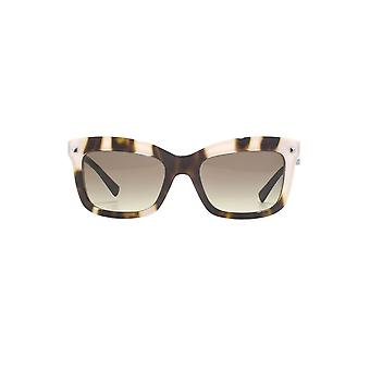 Valentino Classic Rectangle Sunglasses In Havana Crystal White
