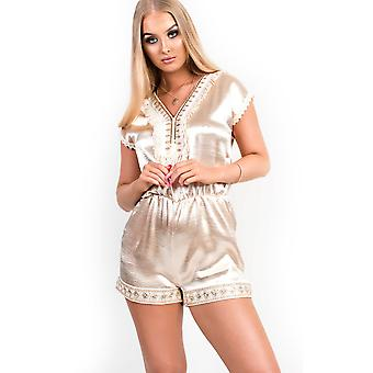 IKRUSH Womens Raine verziert Satin Playsuit