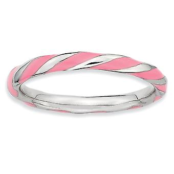 Sterling Silver Polished Rhodium-plated Twisted Pink Enameled 2.4 x 2.0mm Stackable Ring - Ring Size: 5 to 10