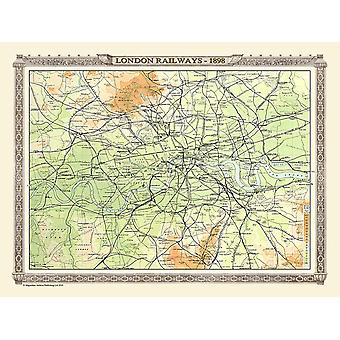 Spoorlijn kaart Of London 1898 1000 stuk Jigsaw Puzzle (jhg)
