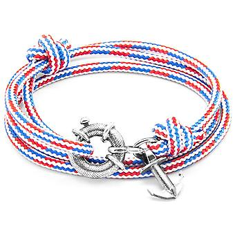 Anchor and Crew Clyde Silver and Rope Bracelet - Red/White/Blue