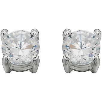 Beginnings Cubic Zirconia Medium Round Stud Earrings - Silver/Clear