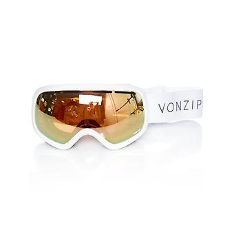 Von Zipper White Gloss-Wild Gold Chrome 2018 Skylab Snowboarding Goggles