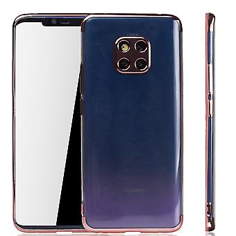 Handyhülle für Huawei Mate 20 Pro Rose Pink - Clear - TPU Silikon Case Backcover Schutzhülle in Transparent / glänzender Rand Rose Pink