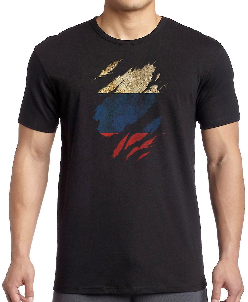 Russian Grunge Flag Ripped Effect T Shirt