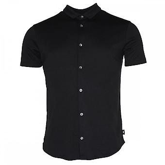 Emporio Armani 8n1ch5 Cotton Buttoned Down Black Polo Shirt