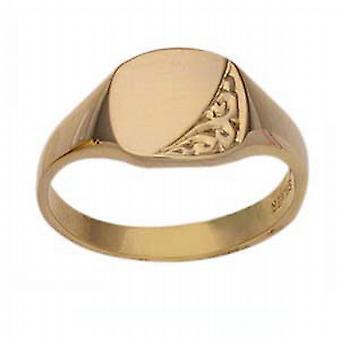 9ct goud 8x10mm dames gegraveerd beeldformaat Signet Ring maat L