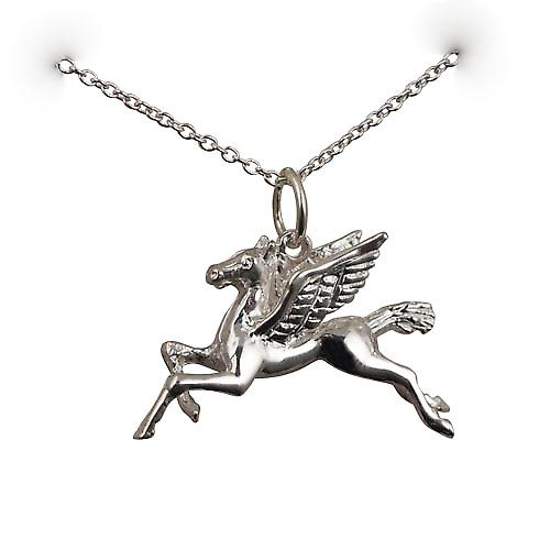 Silver 29x27mm solid Pegasus in Flight Pendant with a rolo Chain 18 inches