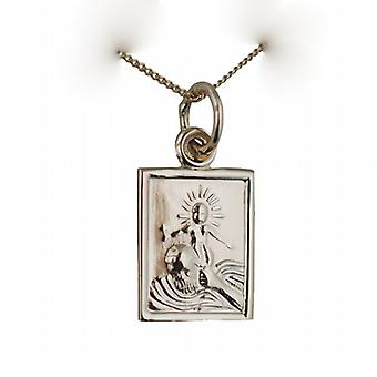9ct Gold 12x10mm rectangular St Christopher Pendant with a curb Chain 16 inches Only Suitable for Children