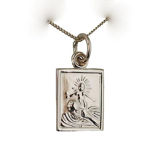 9ct Gold 12x10mm rectangular St Christopher Pendant with a curb chain