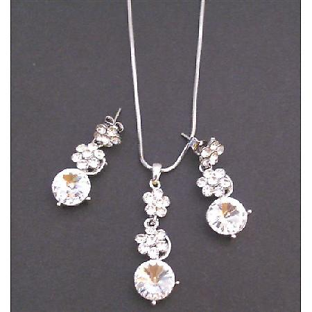 Bridal Necklace Set Clear Crystals Flower Necklce Set Clear Crystal surgical Post Dangling Wedding Jewelry