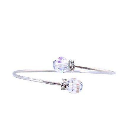 Wire Bracelet Swarovski AB Crystals Jewelry w/ Rondells