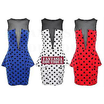 NEW WOMENS POLKA DOT BLACK MESH PEPLUM SPOTTED RED WHITE BLUE LADIES DRESS