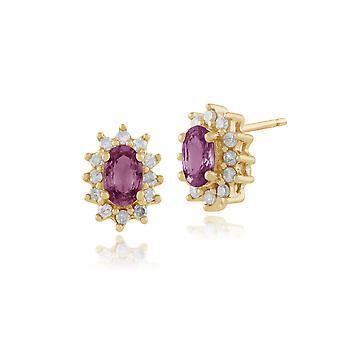 9ct Gelb Gold rosa Saphir & Diamant Gestüt Ohrringe