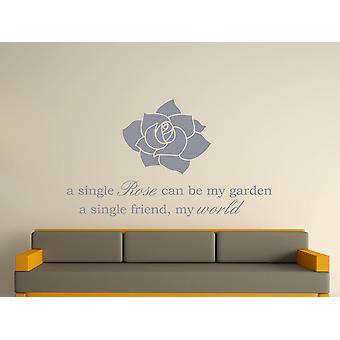 A Single Rose Wall Art Sticker - Silver