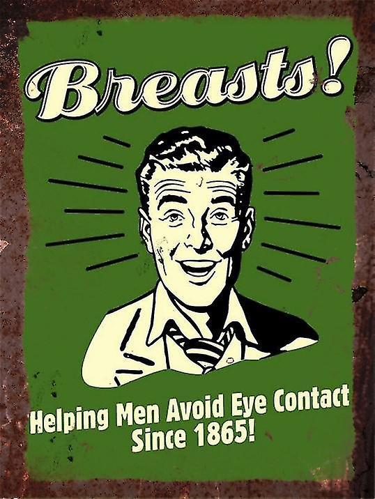 Vintage Metal Wall Sign - Breasts!