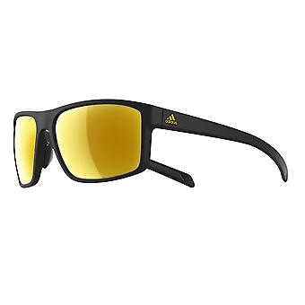 Adidas a423 6071 Black matte Gold Whipstart Rectangle Sunglasses Cycling, Running, Fishing, Driving Lens Category 2 Lens Mirrored Size 61mm