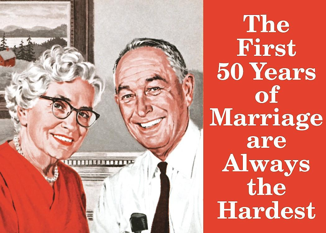 First 50 Years Of Marriage... steel fridge magnet  (hb ls)
